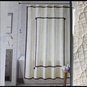 Threshold Navy Border & Tassel Shower Curtain